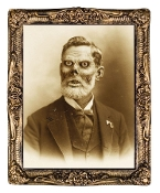 Huge DEMON PAPPY FUNGUS HOLOGRAPH PORTRAIT PRINT Flicker Picture Haunted House Prop Halloween Decoration Wall Decor. Gortrait of a distinguished gentleman becoming a rotting corpse before your eyes. Large Picture, antique-look frame, 17 x 21-inch.