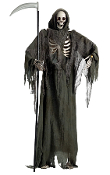 Gothic Life Size Creepy Animated Talking Zombie STANDING GRIM REAPER wielding Sickle Sythe. Spooky Haunted House Cemetery Graveyard Dungeon Halloween Prop Decoration. Skeleton has LED eyes, moving jaw with eerie scary voice sound. Battery operated