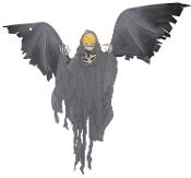 ANIMATED FLYING REAPER Gothic Horror Halloween Prop Decoration -Plastic skeletal parts, posable arms and rotted, shredded rags attached with large spread posable wings that move up and as though they were flapping. Scary sounds and light up eyes.