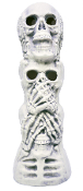 See No Evil, Hear No Evil, Say No Evil, SKULL PILE. Spooky Gothic Cemetery Graveyard Haunted House Halloween Horror Prop Statue Figurine Decoration. 18-inch boneyard totem pole. Creepy lawn yard garden prop building supplies to scare haunt visitors!