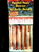 EXTRA WIDE Haunted House Decor Large Halloween Decoration DRIPPING BLOODY BORDER Horror Scene Setter Wall Trim Costume Party Backdrop Prop-20ft - Clear Plastic with Big Blood Red Drips Indoor Outdoor Butcher Chop Shop Create a Scene.