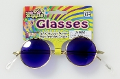 Cool ROUND HIPPIE SUN GLASSES Gothic Vampire Steampunk Retro Lennon Hippie Austin Powers Cosplay Costume Accessory - BLUE Lenses. That 70's show, flower child, hippy character The Beatles John inspired.
