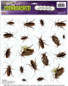 Creepy Bugs HORROR COCKROACHES GRABBER CLING Dirty Kitchen Insects Halloween Decoration Costume Party Prop HORROR Peel 'N Place 19-pc Stickers. Scene Setter, Psycho Horror Movie Decor. Haunted House Kitchen Decor.