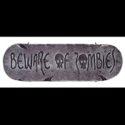 Gothic Horror-BEWARE of ZOMBIES-Halloween Prop Decoration cemetery, graveyard, door, yard SIGN for Teenager Room, Teen Bedroom, Man Cave, Castle Haunt Décor. Creepy Haunted House detailed spooky dungeon, tombstone scene, costume party wall display.