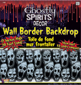 Haunted House Decor Large Halloween Decoration Spooky GHOSTLY SPIRITS BORDER Scary Horror Scene Setter Window Valance Trim Costume Party Backdrop Prop - Gray Plastic with Big Creepy Faces Indoor Outdoor Dungeon Wall of Tortured Souls Create a Scene.