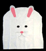 New White EASTER BUNNY RABBIT CHAIR COVER Spring Holiday Party Decoration - 18.5-inch W x 20.25-inch L (47cm x 51cm) Fits chair backs to 18-inch wide. Non-Woven Felt Fabric CHAIR BACK COVER Springtime Kitchen, Breakfast Bar or Dining Room Decor.