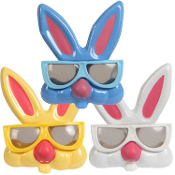 Fun Pretend Play EASTER BUNNY RABBIT GLASSES Spring Costume Kids Toy Birthday Party Favors. Cute novelty mask keeps little ones parade hopping! Attached nose, rabbit teeth, tall silly bunny ears. Funny Easter basket stuffer, filler, egg hunt prizes!