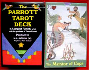 Margaret Parrott MENTORS TAROT DECK-Vintage Fortune Telling Occult-82 CARDS. Colorfully illustrated coated set will be your link to the future. Based on the Rider-Waite 78 traditional deck, plus 4 NEW: the MENTORS. Standard Size, with instructions.