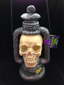 Gothic Post-Apocalyptic Light-Up LED STROBE SKULL LANTERN LAMP Halloween Dungeon Cemetery Graveyard Haunted House Prop. Creepy Grim Reaper Apocalypse Costume Party Decoration. Flashing Castle Decor. Spooky Pirate Witch Theme prop building scenery.