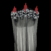 Huge Gothic Halloween Prop Decoration 3D Light up BLOODY SKULL CANDLES PEDIMENT DOOR TOPPER Black Shrouded Curtain. Creepy Castle Dungeon Surround, Scary Haunted House Horror Decor Entry, Spooky Graveyard Cemetery Entrance. LED Lighted Flicker Lamps.