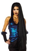 Extra Long Straight BLACK WITCH WIG Vampire Medieval Princess Hippie Hawaiian Luau Hula Girl Halloween Costume Fancy Dress-up Cosplay Accessories. Funky Accessory for any aspiring Lady Gaga, Katie Perry, Evil Queen, Cher, Elvira, Hippy costume!