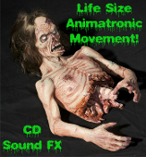 Life Size Creepy Animated Torso TWITCHING ZOMBIE Moving Walking Dead Body Horror Haunted House Halloween Prop-This zombie is only half the zombie he used to be. Although ripped apart, he's still convulsing, moving and not going down without a fight!