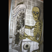 Funny Toilet Loo SKELETON on POTTY BATHROOM DOOR COVER Shower Mural Restroom Wall Decor Create-a-Scene Setter Halloween Decoration. Haunted House Backdrop, Cheap Castle Scenery, Horror Prop Accessory. Whimsical Skeleton sitting on commode reading.