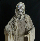 Creepy Life Size Gothic Animated SWAYING TORSO Movement Hanging GHASTLY ZOMBIE PEEPER GRIM REAPER GHOUL Scary Haunted House Cemetery Graveyard Halloween Prop Building Decoration with Spooky Music Moaning Sound Effects LED Lighted Eyes