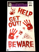 Bloody Hand Prints-HELP-GET OUT-BEWARE-Zombie Apocalypse Dexter Serial Killer Gothic Floor Gore Wall Grabber Window Sticker Door Cling Decal Zombie Apocalypse Cosplay Halloween Costume Party Haunted House Prop Building Horror Decoration Scene Setter