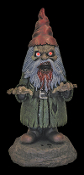 Scary funny bloody horror Zombie Gnome- GNOMBIE with LIGHT-UP EYES -Lawn yard garden decor evil statue scares trespassers! Creepy durable hollow plastic walking dead figurine. Indoor outdoor haunted house Halloween prop decoration. Must eat BRAINS!