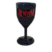 Halloween-BLACK GOTHIC GOBLET-Costume Party Cup Wine Drink Glass - Medieval Steampunk Cosplay Vampire Witch Wizard Alchemy - VENOM Word Design - Potion Cup Drinking Vessel - Holds 14 ounces of your favorite beverage!