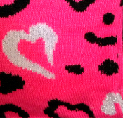 New Cute Novelty Rockabilly Lolita. Funky Sweetheart Punk Hot Pink LEOPARD HEART CREW SOCKS Neon Animal Print Diva Cheer Valentines Love Holiday Hosiery Women Teen Girls Size Casual Stockings Safari Jungle-theme Clothing Apparel Accessory Gift.