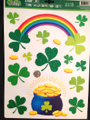 Lucky Irish POT-O-GOLD RAINBOW SHAMROCKS CLINGS SHEET Novelty St Patrick's Day Theme Holiday Gift Party Decoration. Use on Windows, Mirrors, Refrigerator, Dishwasher... most Smooth Non-Porous Surfaces. Cute colorful festive decor, fun for all!