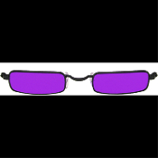 Steampunk Night-stalker GOTHIC GLASSES VAMPIRE SUNGLASSES Rectangular Metal-Rimmed Cosplay Costume Accessory Hippy Novelty Eyewear PLUM PURPLE LENSES by Dr. Peepers *Please Note measurements - These are slightly smaller than most adult-size glasses