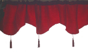Christmas Holiday Party, Haunted House Decor, Gothic Victorian Edwardian BLOOD RED BROCADE WINDOW VALANCE CURTAIN Tapered Arch Door Topper, Floral Damask w-Tassels, Halloween Decoration Dining Room Accessory, Vampire Witch Scenery, Castle Entry Prop.