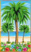 Tropical Island Scene Setter COCONUT PALM TREE WALL HANGING Luau Beach Pool Party Decoration Prop 72x42 Plastic Bright Multi-Color Tiki Bar Hawaiian Tahitian Voodoo Pirate Decor Theme DOOR WINDOW MURAL TABLE CLOTH COVER Indoor Outdoor Party Supplies
