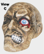 Severed Human Skull ONE-EYED JACK ROTTING ZOMBIE MUMMY HEAD with One Crazy Eye Just hanging around for fun! Slightly smaller than Life-size, rotten victim head has straggly hair, awful smile, unforgettable weird eye***DAMAGED-DEFECTIVE-NO RETURNS***