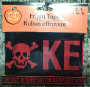 Spooky Cemetery Graveyard Zombie--KEEP OUT--BARRICADE FRIGHT CAUTION TAPE Haunted House Halloween Decoration Costume Party Gothic Decor Prop Building Accessory. 30-ft Plastic police warning sign border ribbons create the scariest house on the block!