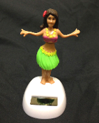 Solar Power Motion Car DASHBOARD HULA GIRL Novelty Toy Luau Beach Party Dancing Decoration. Mini auto display Hawaiian dancer moves in realistic motion in bright light. Pink bikini top, Green grass hula skirt. Tropical desk, table, window decor!
