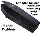 Life Size Realistic Creepy Black WOOD LOOK Instant POP-UP COFFIN PROP with LID-RIP Spooky Horror Halloween Haunted House Cemetery Gothic Graveyard Mortuary Funeral Parlor -Vampire Zombie Skeleton Yard Lawn Decoration-TOE PINCHER CASKET-Indoor Outdoor