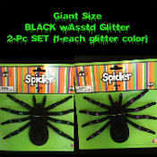 Realistic Arachnophobia Fuzzy Flocked Black Widow GIANT GLITTER TARANTULA SPIDERS Gothic Halloween Haunted House Cemetery Graveyard Props Decorations Witch Costume Accessory Prank Joke Gag Gift-Two piece SET