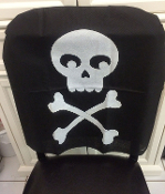 Spooky Gothic-RIP TOMBSTONE SKULL SPIDER WEB CHAIR COVER-Creepy Cemetery Graveyard Halloween Haunted House Vampire Witch Zombie Pirate Cosplay Costume Party Horror Kitchen Dining Room Decoration-GRAY / BLACK Non-Woven Fabric. Fits chairs to 19-inch W