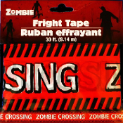 Walking Dead Theme --ZOMBIE CROSSING-- Warning Fright Barricade Caution Tape Border-Cosplay Costume Party Haunted House Halloween Prop Decoration - 30-feet long (900cm) x 3-inches (7.5cm) wide Plastic Red, Black and White Color Ribbon.