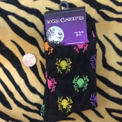 Funky Gothic Novelty BLACK GLITTER SPIDERS CREW SOCKS-Pink Purple Green Gold Multi-Color Print Creepy Crawlies Design-Punk Rockabilly Lolita Diva Casual Hosiery Cosplay Halloween Costume Accessory Womens Teen Unisex