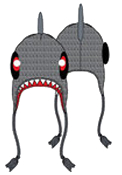 Trendy new cozy warm winter deluxe SHARKNADO inspired Peruvian Laplander unisex pilot style funky novelty knit beanie hat features SHARK HEAD with FIN design cartoon character with braided tassels hanging from cap earflaps.