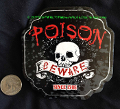 Gothic Spooky Black POISON-BEWARE-SKULL Print Drink COASTERS Haunted Bar Dining Kitchen Table Creepy Halloween Costume Party Haunted House Decorations Pirate Birthday Walking Dead Zombie Theme Accessory Prop Building Supply-Paper Pulp Recyclable-SET