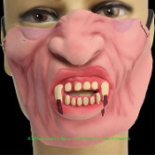 Gothic Horror-LOWER HALF FACE MASK-Evil Monster Halloween Undead-DRACULA VAMPIRE FANGS-Prank Joke Gag Carnivale Mardi Gras Party Haunted House Masquerade Cosplay Costume Accessory. Flesh-tone RUBBER LATEX. Adult Size. Funny Poker Game distraction!