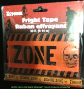 Spooky Graveyard Walking Dead --ZOMBIE ZONE--BARRICADE FRIGHT CAUTION TAPE Haunted House Halloween Decoration Costume Party Gothic Decor Prop Building Accessory. 30-ft Plastic police warning sign border ribbons create the scariest house on the block!