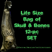 Life Size BAG OF BONES Gothic Halloween Haunted House Body Parts Cemetery Graveyard Prop Building Decorations. Creepy additions to morgue chop shop! Mesh bag of 12 assorted bones including skull, hands, feet. Simulated disarticulated skeleton!