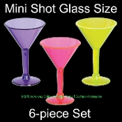 Mini MARTINI SHOT GLASS SET-Luau Tiki Bar Drink Cocktail Bachelorette Birthday Party Favors Halloween Decorations-Miniature Shooters - 6 piece SET - Great for Rave, Pool, Beach, Graduation, Drinking Games, Fun Girls Night Out! BLACK LIGHT REFLECTIVE