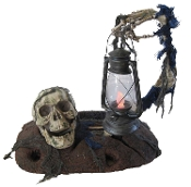 Creepy Realistic Life Size AGED GROUND BREAKER SKULL with SKELETON ARM HOLDING Color Change LANTERN Gothic Halloween Prop Haunted House Cemetery Graveyard Crypt Dungeon Scene Setter Decoration. 18-inch (45cm) Tall.