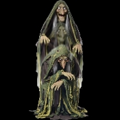 Life Size Deluxe Creepy Animated Swamp Hag talking witch PVC head with a moving mouth and light up eyes, tattered costume with gauze details and blow molded hands. This spooky prop starts at a 40-inch height and she rises up to 60-inches.