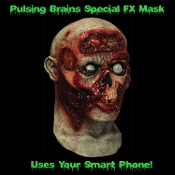 Deluxe Animated DIGITAL DUDZ PULSING ZOMBIE BRAINS MASK. Digital Animation Zombie Human Skull Full Over Head Latex Mask Uses Smart Phone Technology To Come Alive! Bring your mask to life. See Video!