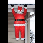 Funny life size realistic outdoor Airblown inflatable Roof Hanging Santa Claus is sure to get a laugh from holiday guests. 6.5-feet tall. He lights up, self-inflates, includes fan and the hardware for attaching him to your home gutters or roofline.