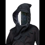 Spooky Black Hooded Mask with scary silver mirror face. You can see out, but no one sees in! Creepy Halloween haunted house cosplay costume accessory, ideal for executioner, grim reaper, angel of death, etc! One size fits most adults and teens.