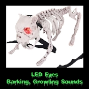 Man's best friend barking Walking Dead inspired canine zombie skeleton attack guard dog. Noise sets off his vicious barking, growling, snarling and fiercely flashing glowing eyes.