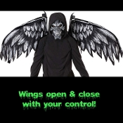 Ultimate creepy Grim Reaper character cosplay Halloween costume accessory set! Death Angel kit features creepy skull mask and separate moveable wings you control! Wings operate by two side cords and can open the wings to up to six feet across!