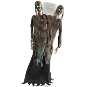 Wearing a tattered costume with shredded-gauze accents, creepy life size 72-inch (180cm) tall animated Twitching Corpse ZOMBIE GHOUL with GREEN LIGHT UP EYES has just shambled out of a grave! Steady-On, Infra-Red Sensor or Step-Here Pad (included).