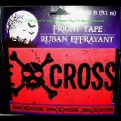 Gothic Decor Walking Dead--ZOMBIE CROSSING--Warning Fright Police Barricade Sign Caution Tape Ribbon Border-Cosplay Costume Party Spooky Haunted House Accessory Halloween Prop Cemetery Graveyard Decoration-Red Black SKULL and CROSSBONES-30 Feet Long