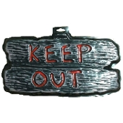Gothic Horror-KEEP OUT-Halloween Prop Decoration cemetery, graveyard, door, yard Warning SIGN for Teenager Room, Teen Bedroom, Man Cave, Castle Haunt Decor. Creepy Haunted House spooky dungeon, tombstone scene or costume party wall display.